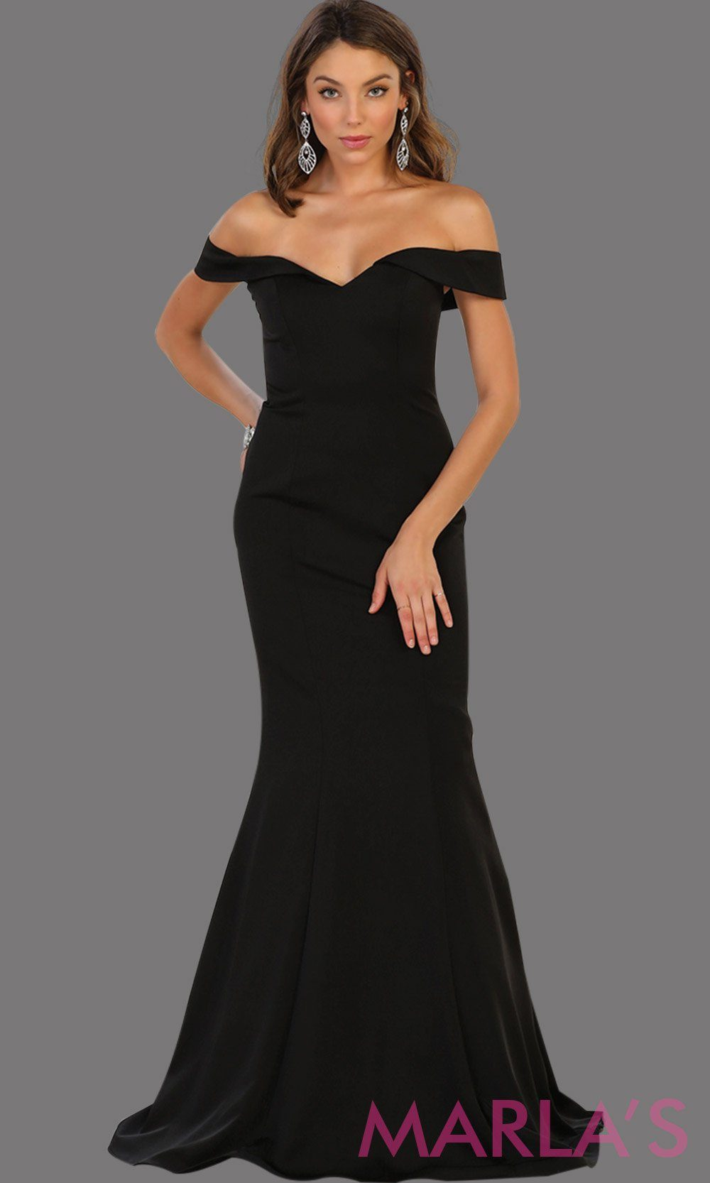 Long off shoulder black fitted mermaid dress. This sleek and sexy dress is perfect as a bridesmaid dress, formal wedding party dress, wedding guest dress, black gala gown, charity event dress. Available in plus size