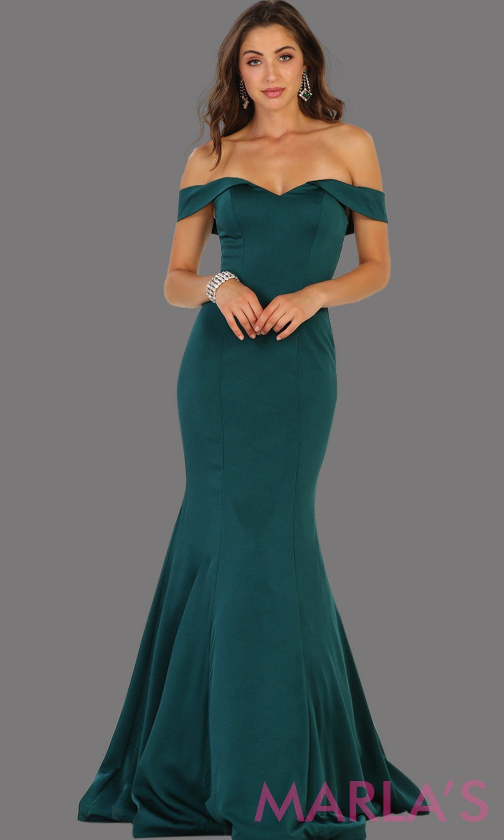 Long off shoulder dark green fitted mermaid dress. This sleek and sexy dress is perfect as a bridesmaid dress, formal wedding party dress, wedding guest dress, gala gown, charity event dress. Available in plus size