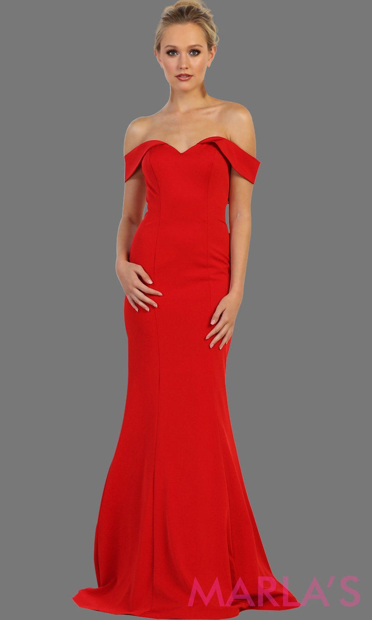 Long off shoulder red  fitted mermaid dress. This sleek and sexy red dress is perfect for bridesmaid dress, formal wedding party, wedding guest dress, gala, charity event dress. Available in plus size