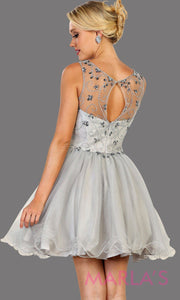 Back of Short high neck light silver puffy grade 8 grad dress or homecoming. Perfect for light gray graduation, homecoming, debut, Quinceanera Damas, Sweet 16, Sweet 15. Available in plus sizes.