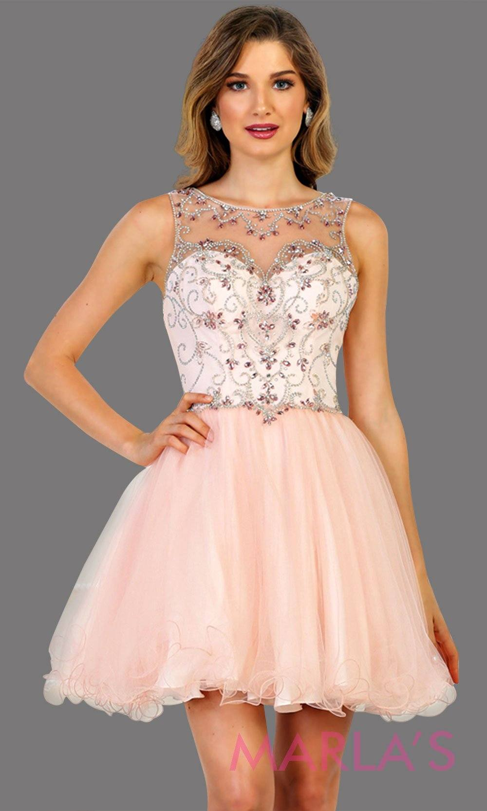 Short high neck blush pink puffy grade 8 grad dress or homecoming. Perfect for light pink graduation, homecoming, debut, Quinceanera Damas, Sweet 16, Sweet 15. Available in plus sizes.