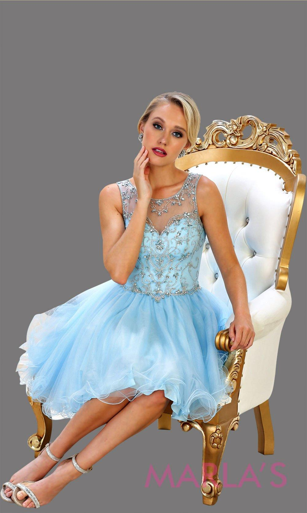 Short high neck light blue puffy grade 8 grad dress or homecoming. Perfect for aqua blue graduation, homecoming, debut, Quinceanera Damas, Sweet 16, Sweet 15. Available in plus sizes.