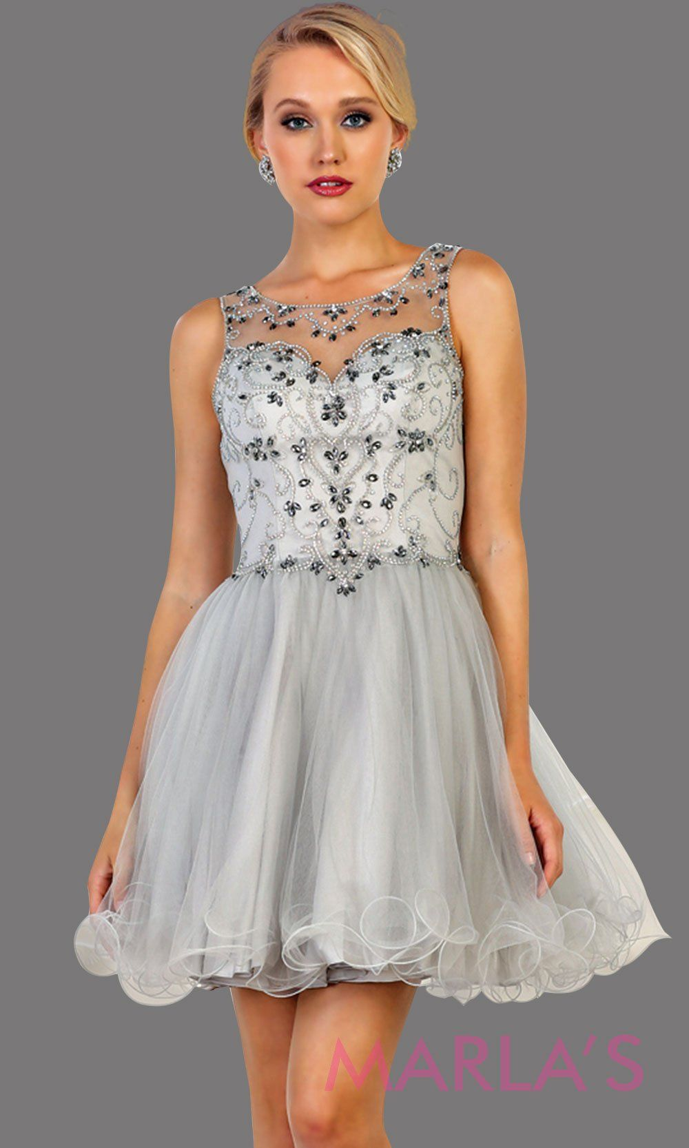 Short high neck light silver puffy grade 8 grad dress or homecoming. Perfect for light gray graduation, homecoming, debut, Quinceanera Damas, Sweet 16, Sweet 15. Available in plus sizes.