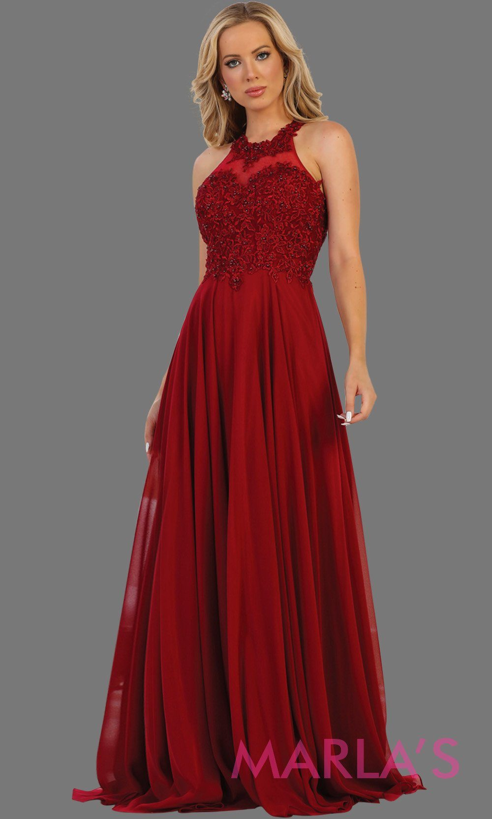 Long burgundy flowy high neck dress with lace top and open back. Perfect for dark red prom dress, wedding guest dress, formal party evening gown, destination wedding, bridesmaid dress. Available in Plus Sizes.