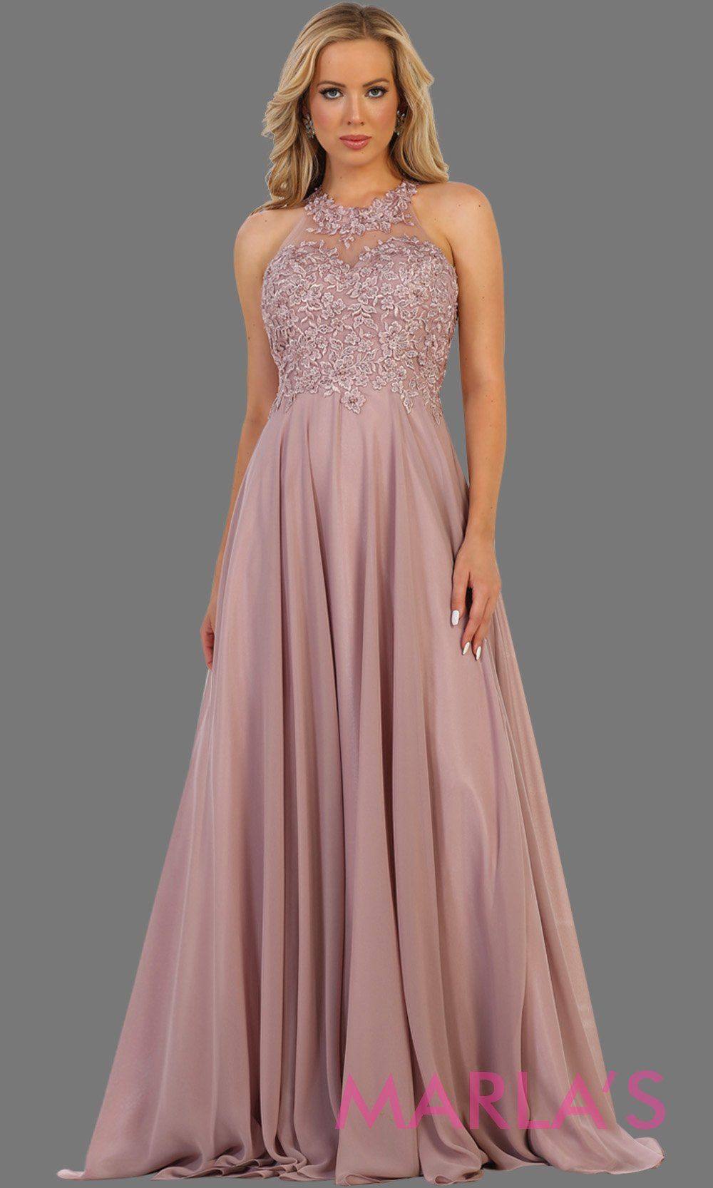 Long dusty rose flowy high neck dress with lace top and open back. Perfect for mocha prom dress, wedding guest dress,formal party evening gown, destination wedding, bridesmaid dress. Available in Plus Sizes.