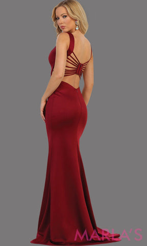 Back of Long burgundy fitted dress with open back and high slit. This sleek and sexy dress is perfect for prom, sexy wedding guest dress, gala event. This dark red gown has a low back and leg slit with v neckline.