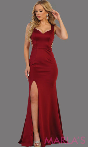Long burgundy fitted dress with open back and high slit. This sleek and sexy dress is perfect for prom, sexy wedding guest dress, gala event. This dark red gown has a low back and leg slit with v neckline.