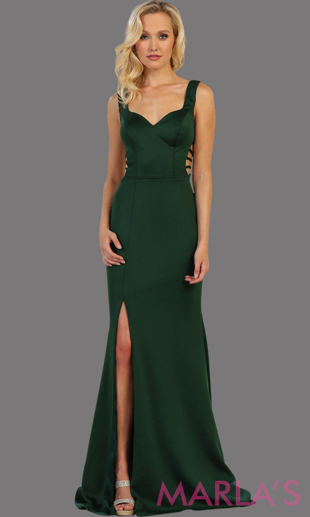 Long dark green fitted dress with open back and high slit. This sleek and sexy dress is perfect for prom, sexy wedding guest dress, gala event. This hunter green gown has a low back and leg slit with v neckline.