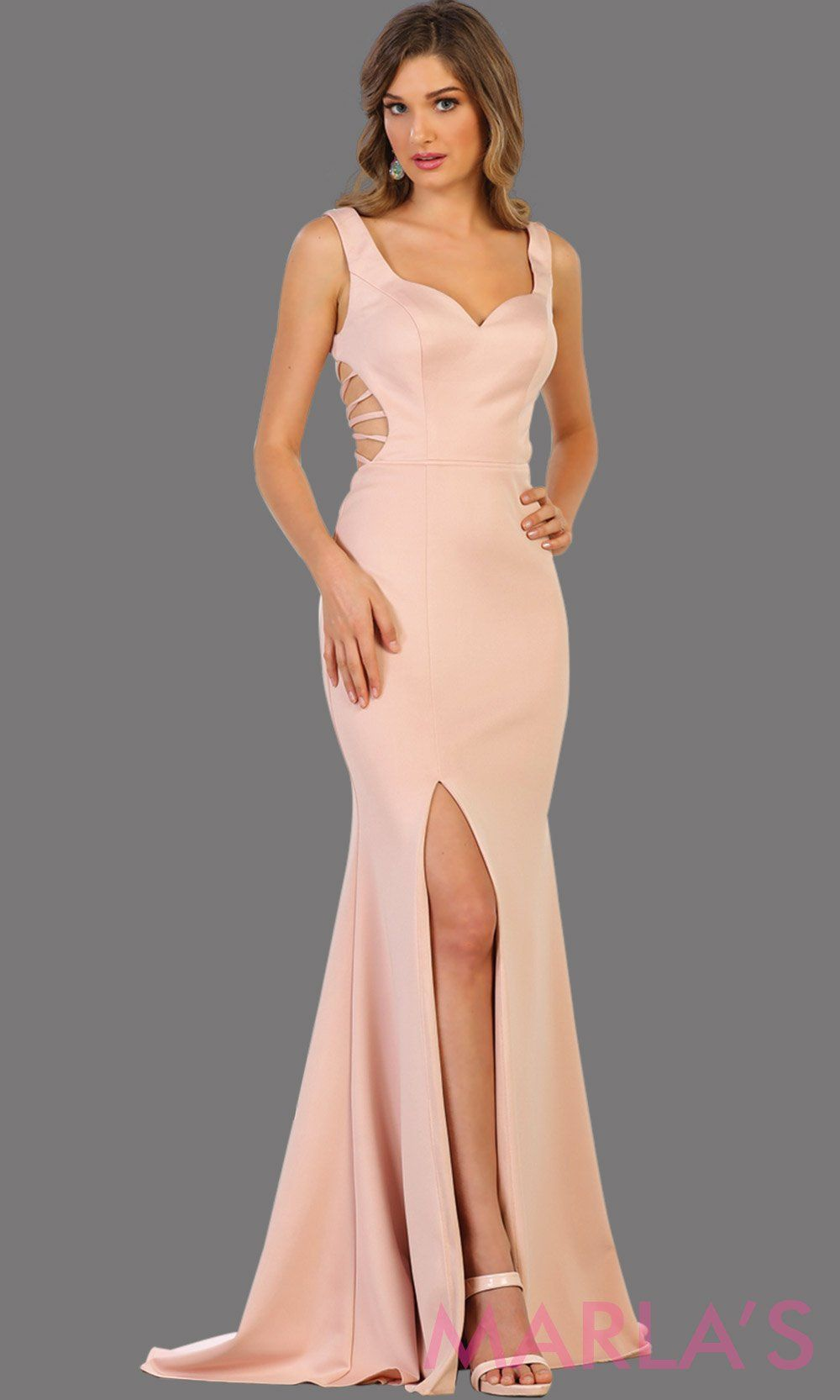 Long dusty rose fitted dress with open back and high slit. This sleek and sexy dress is perfect for prom, sexy wedding guest dress, gala event. This pink gown has a low back and leg slit with v neckline.