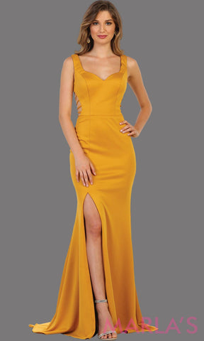 Long Mustard Fitted Dress With Open Back And High Slit This Sleek Sexy