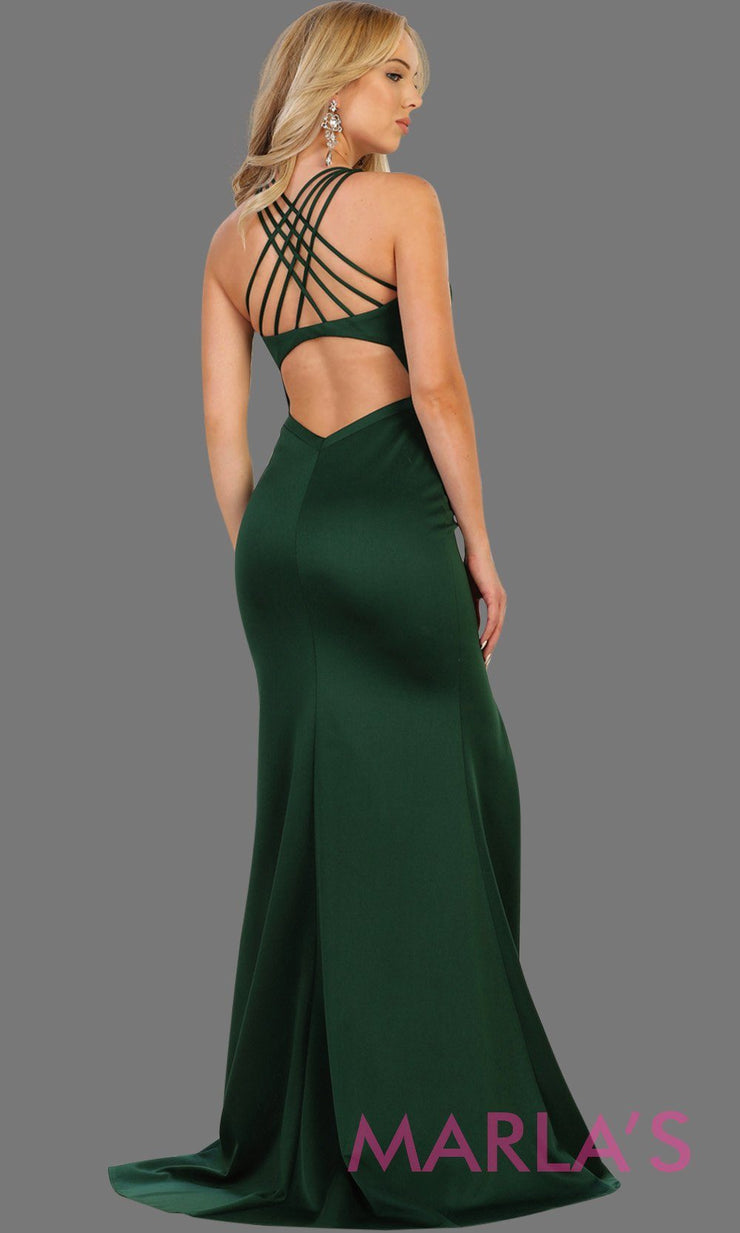 Back of Long hunter green open back dress with high slit. This sleek and sexy dress is perfect for prom, sexy wedding guest dress, gala. This low back with leg slit in dark green is stunning.