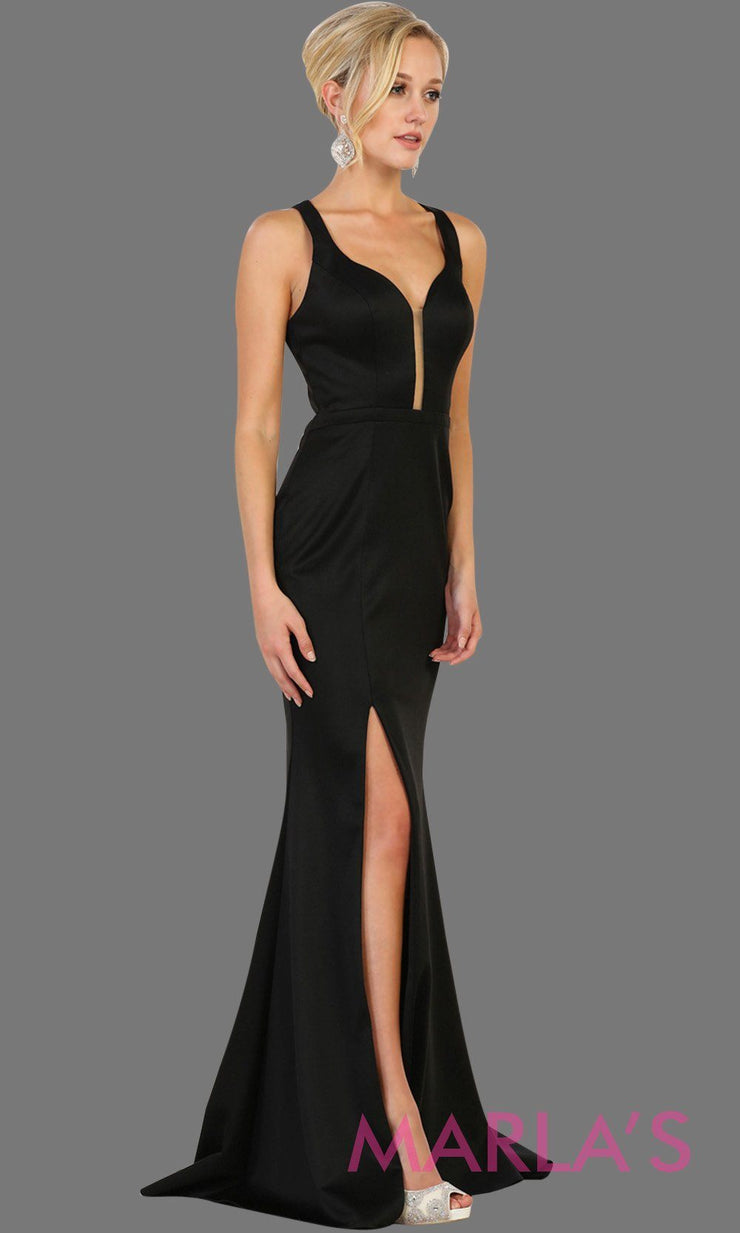 Long black open back dress with high slit. This sleek and sexy dress is perfect for prom, sexy wedding guest dress, gala. This low back with leg slit in black is stunning.