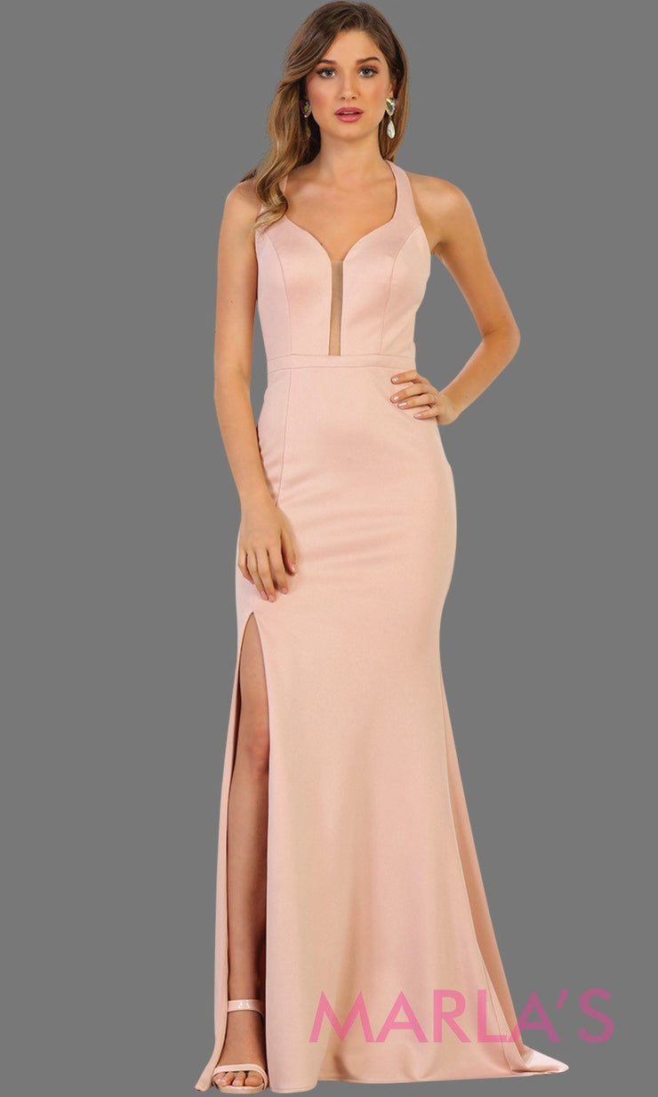Long dusty rose open back dress with high slit. This sleek and sexy dress is perfect for prom, sexy wedding guest dress, gala. This low back with leg slit in pink is stunning.