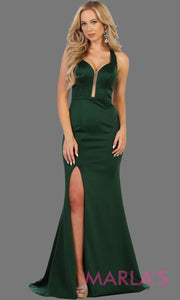 Long hunter green open back dress with high slit. This sleek and sexy dress is perfect for prom, sexy wedding guest dress, gala. This low back with leg slit in dark green is stunning.