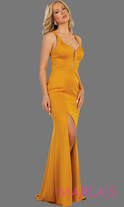 Long mustard yellow open back dress with high slit. This sleek and sexy dress is perfect for prom, sexy wedding guest dress, gala. This low back with leg slit in yellow is stunning.