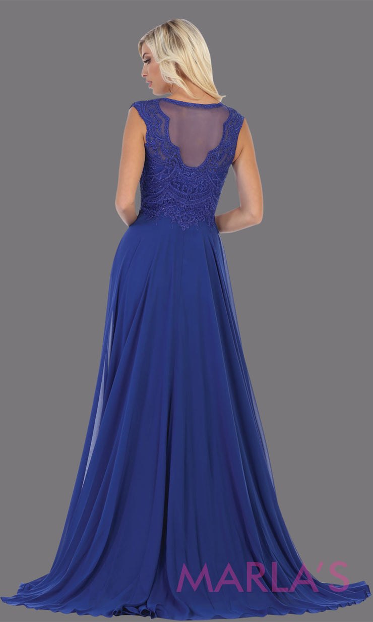 Back of Long high neck royal blue flowy dress with slit. This dark blue floor length dress with beaded lace top is perfect for bridesmaids, destination wedding, formal wedding guest dress, evening gown, gala, indowestern gown
