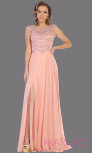 Long high neck blush pink flowy dress with slit. This light pink floor length dress with beaded lace top is perfect for bridesmaids, destination wedding, formal wedding guest dress, evening gown, gala, indowestern gown