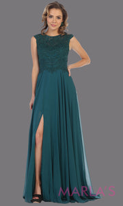 Long high neck hunter green flowy dress with slit.This dark green floor length dress with beaded lace top is perfect for bridesmaids, destination wedding, formal wedding guest dress, evening gown, gala, indowestern gown