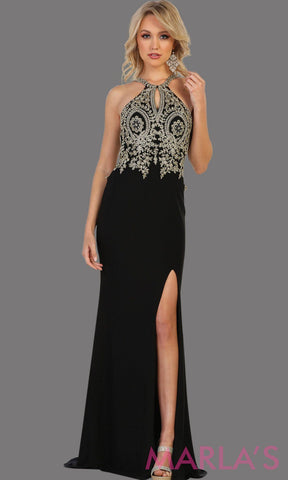 Long black dress with high slit and beaded top. It has a stunning open low back This sleek and sexy black gown with leg slit perfect for prom, gala, formal wedding guest dress, long formal party gown, party dress