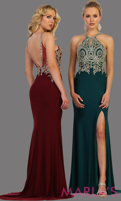 Long hunter green dress with high slit and beaded top. It has a stunning open low back This sleek and sexy gown with leg slit perfect for prom, gala, formal wedding guest dress, long formal party gown, party dress