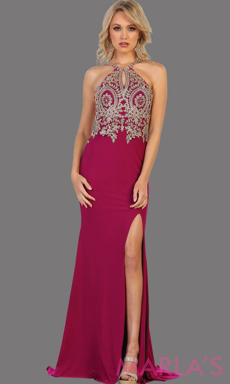 Long magenta dress with high slit and beaded top. It has a stunning open low back This sleek and sexy purple gown with leg slit perfect for prom, gala, formal wedding guest dress, long formal party gown, party dress