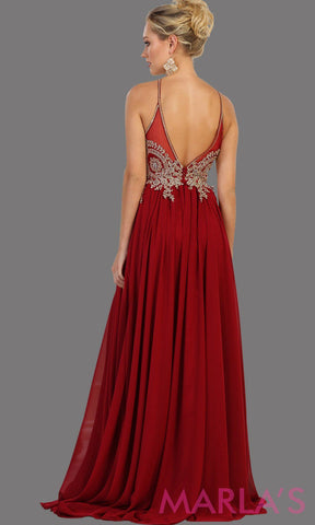 Back of Long red flowy dress with gold lace. This high neck gown has a low illusion back. Perfect for prom, gala, formal wedding guest dress, long party gown. Red western dress. Available in plus sizes.