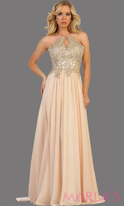 Long champagne flowy dress with gold lace. This high neck gown has a low illusion back. Perfect for prom, gala, formal wedding guest dress, long party gown. Gold western dress. Available in plus sizes.