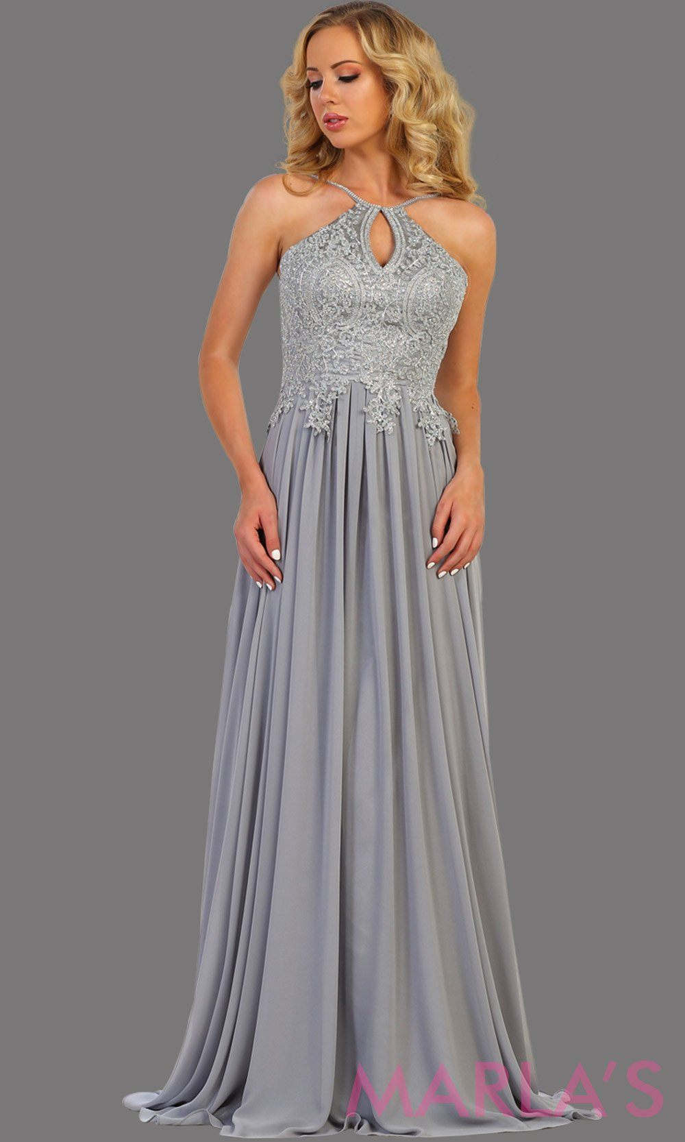 Long light silver flowy dress with silver lace. This high neck gown has a low illusion back. Perfect for prom, gala, formal wedding guest dress, long party gown. Light gray western dress. Available in plus sizes.