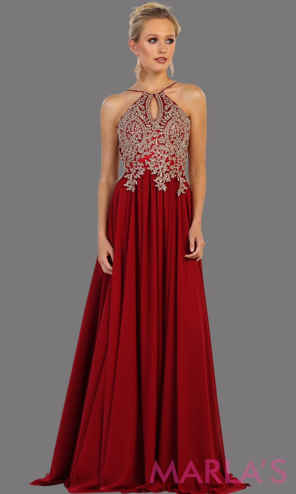 Long red flowy dress with gold lace. This high neck gown has a low illusion back. Perfect for prom, gala, formal wedding guest dress, long party gown. Red western dress. Available in plus sizes.