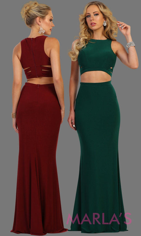 e2da6f47919 Long fitted two piece dark green dress with side cutouts. This sleek and  sexy 2