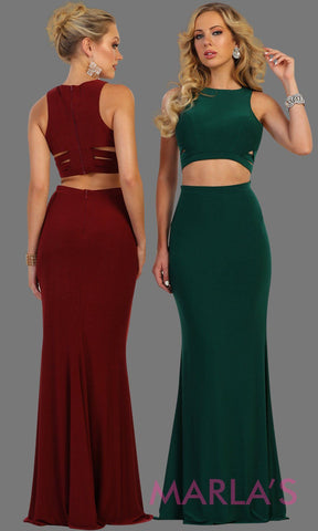 Long fitted two piece dark green dress with side cutouts. This sleek and sexy 2 piece is perfect for prom, wedding guest, sexy formal party gown.