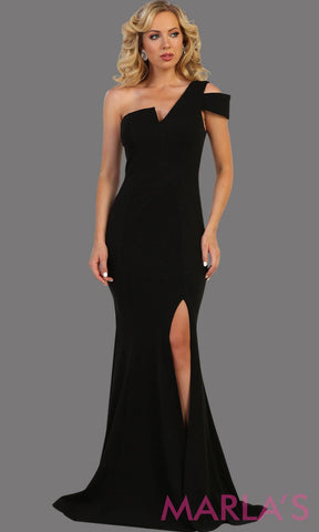 Long fitted black one shoulder dress with high slit. This sleek and sexy evening gown is simple. Perfect for prom, gala, red carpet, formal wedding guest dress, charity event, party dress.  Plus size available.