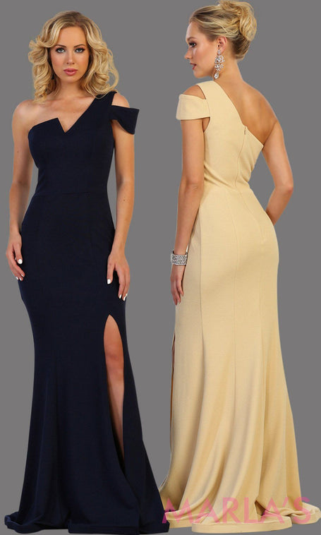 Long fitted one shoulder dress with high slit. This sleek and sexy evening gown is simple and fitted. Perfect for prom, gala, red carpet, formal wedding guest dress, charity event, party dress.  Plus size available.