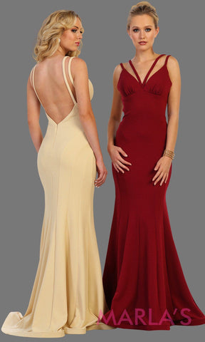 Long burgundy sleek and sexy formal gown has a low back. Perfect for prom, formal party dress, wedding guest dress, gala. dark red formal evening gown. Available in plus sizes.