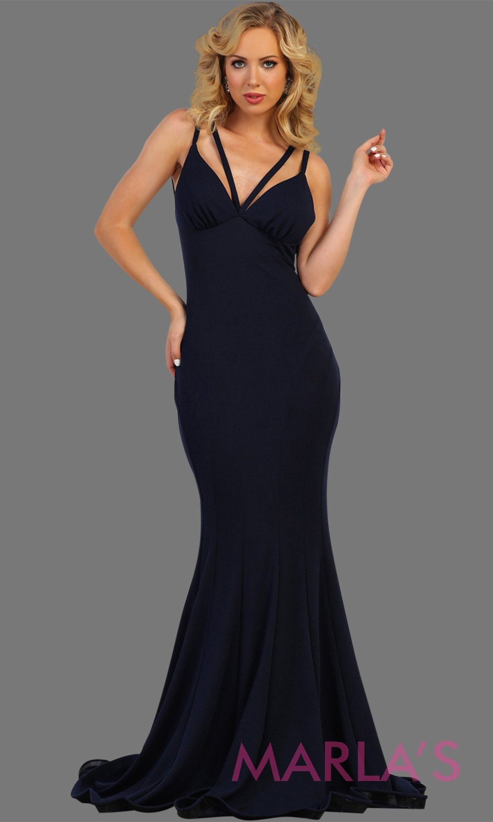 Long navy blue sleek and sexy formal gown has a low back. Perfect for prom, formal party dress, wedding guest dress, gala. formal evening gown. Available in plus sizes.