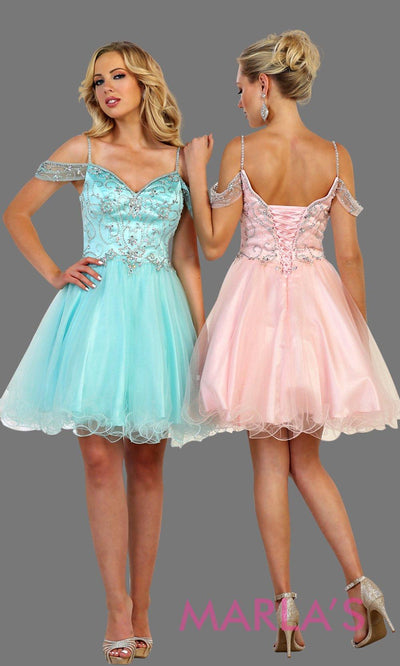 Short puffy grade 8 grad aqua blue dress with cold shoulder and beaded top. This graduation dress is perfect for short prom, confirmation, quinceanera damas, Sweet 15, Sweet 16, Sweet 18 Birthday. Available in plus sizes.