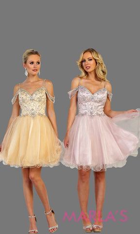 Short puffy grade 8 grad champagne dress with cold shoulder and beaded top. This graduation dress is perfect for short prom, confirmation, quinceanera damas, Sweet 15, Sweet 16, Sweet 18 Birthday. Available in plus sizes.