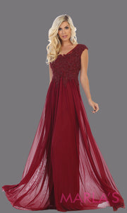 Long burgundy red evening dress with wide straps and v neck. This flowy dark red dress is perfect for bridesmaids, gala, evening dress, plus size women, indowestern gown, muslim nikah, deep red beaded dress.