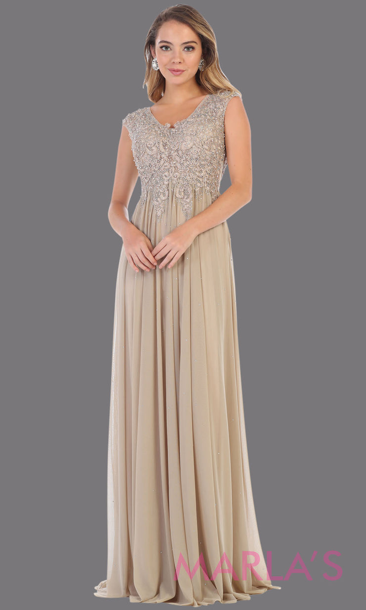 Long champagne evening dress with wide straps and v neck. This flowy light gold dress is perfect for bridesmaids, gala, evening dress, plus size women, indowestern gown, muslim nikah, taupe beaded dress.