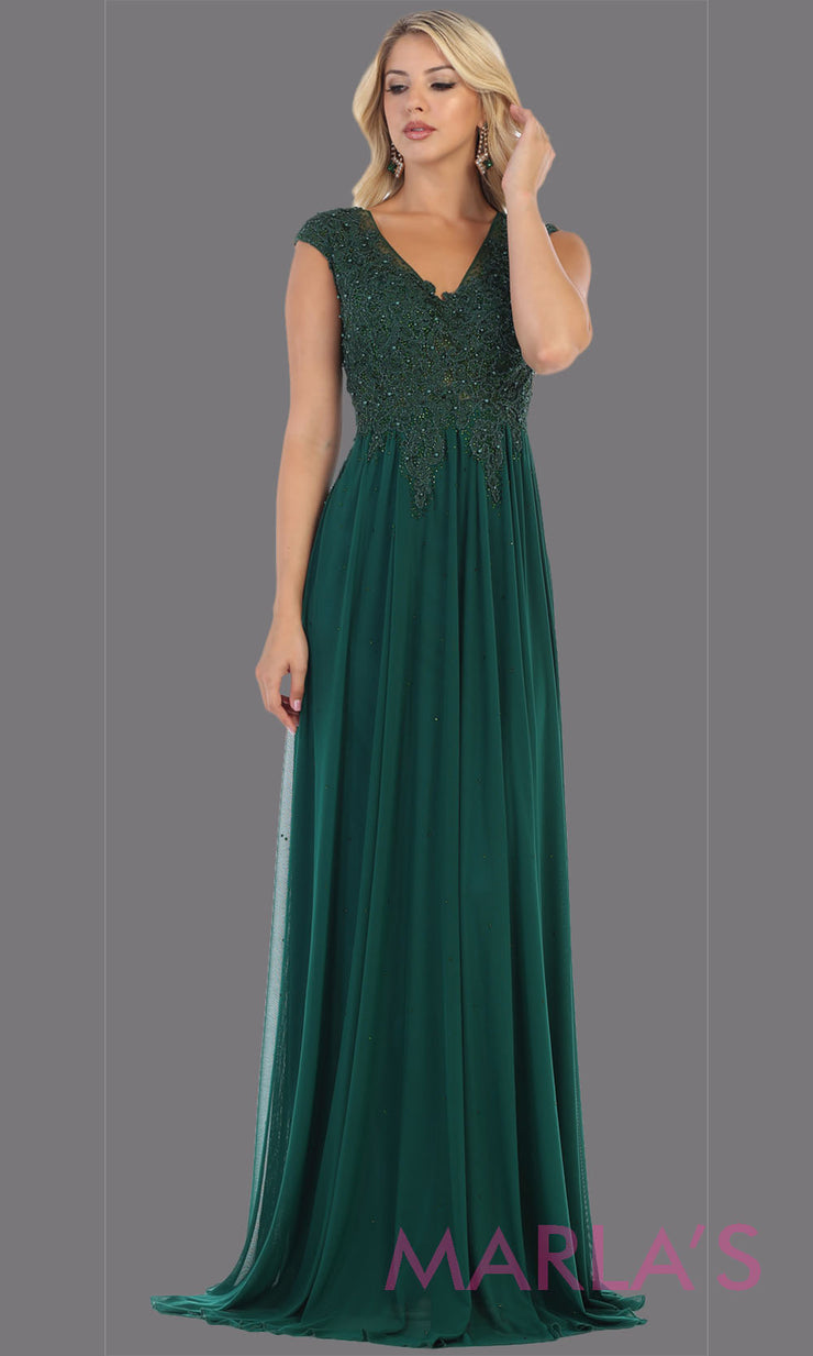 Long hunter green evening dress with wide straps and v neck. This flowy dark green dress is perfect for bridesmaids, gala, evening dress, plus size women, indowestern gown, muslim nikah, emerald green beaded dress.