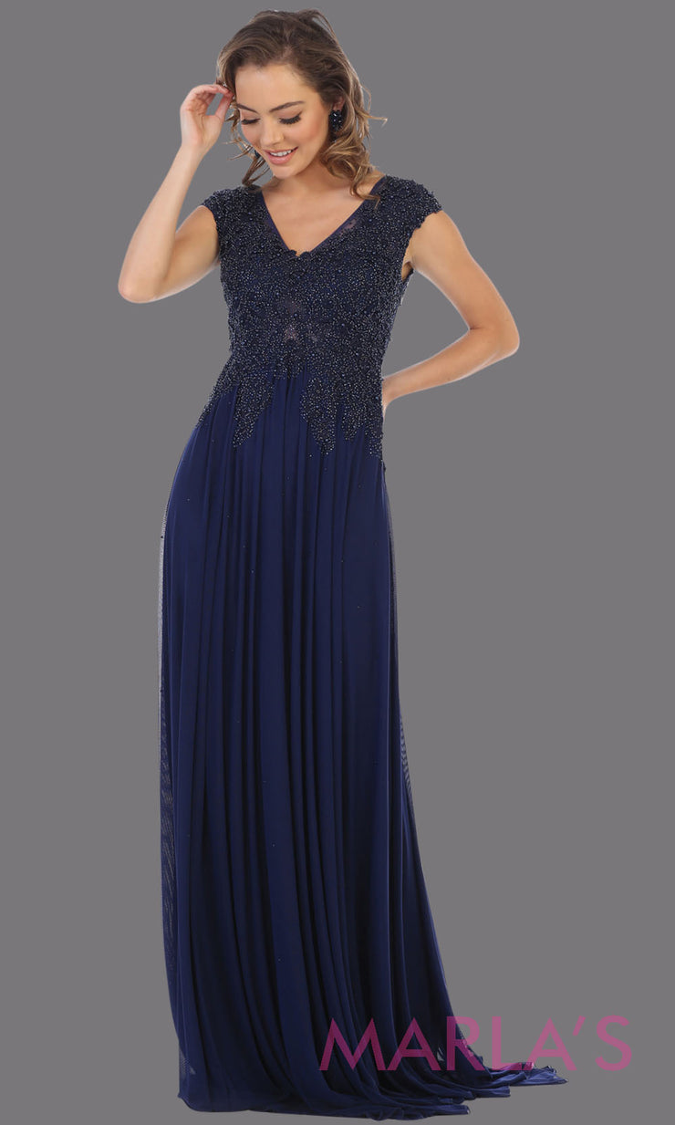 Long navy blue evening dress with wide straps and v neck. This flowy dark blue dress is perfect for bridesmaids, gala, evening dress, plus size women, indowestern gown, muslim nikah, navy beaded dress.
