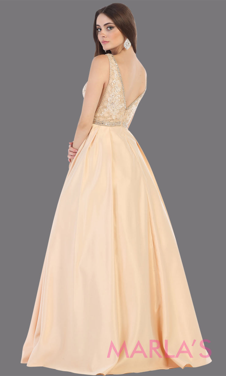 Back of Long champagne semi ball gown v neck with straps. This low back ballgown is perfect for formal gala party, light gold wedding reception dress, indowestern party dress, plus size ballgown,Sweet 15, Sweet 16, Quinceanera.jpg