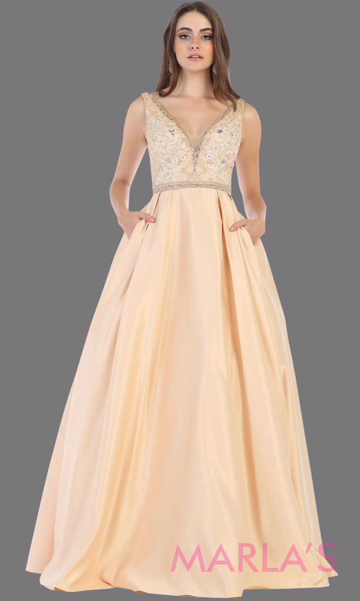 Long champagne semi ball gown v neck with straps. This low back ballgown is perfect for formal gala party, light gold wedding reception dress, indowestern party dress, plus size ballgown,Sweet 15, Sweet 16, Quinceanera.jpg