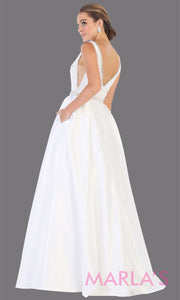 Back of Long white semi ball gown v neck with straps. This low back ballgown is perfect for formal gala party, white wedding reception dress, bridal, indowestern party dress, plus size ballgown,Sweet 15, Sweet 16, Quinceanera