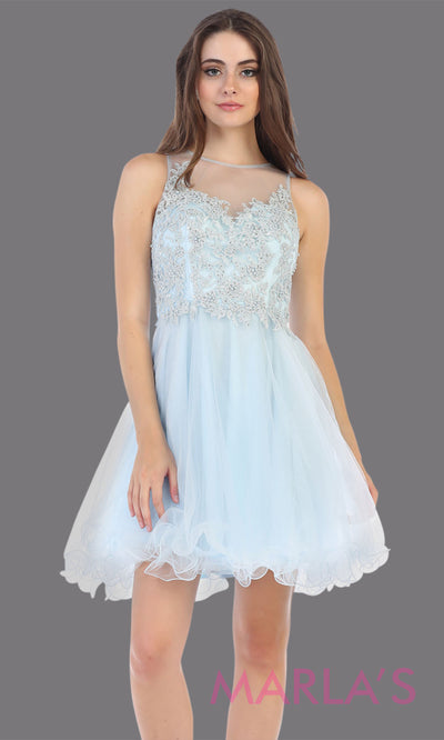 Short high neck aqua blue grade 8 graduation dress with puffy skirt. This light blue illusion back ballerina dress is perfect for  grade 8 grad, homecoming, Bat Mitzvah, quinceanera damas, homecoming, junior bridesmaids