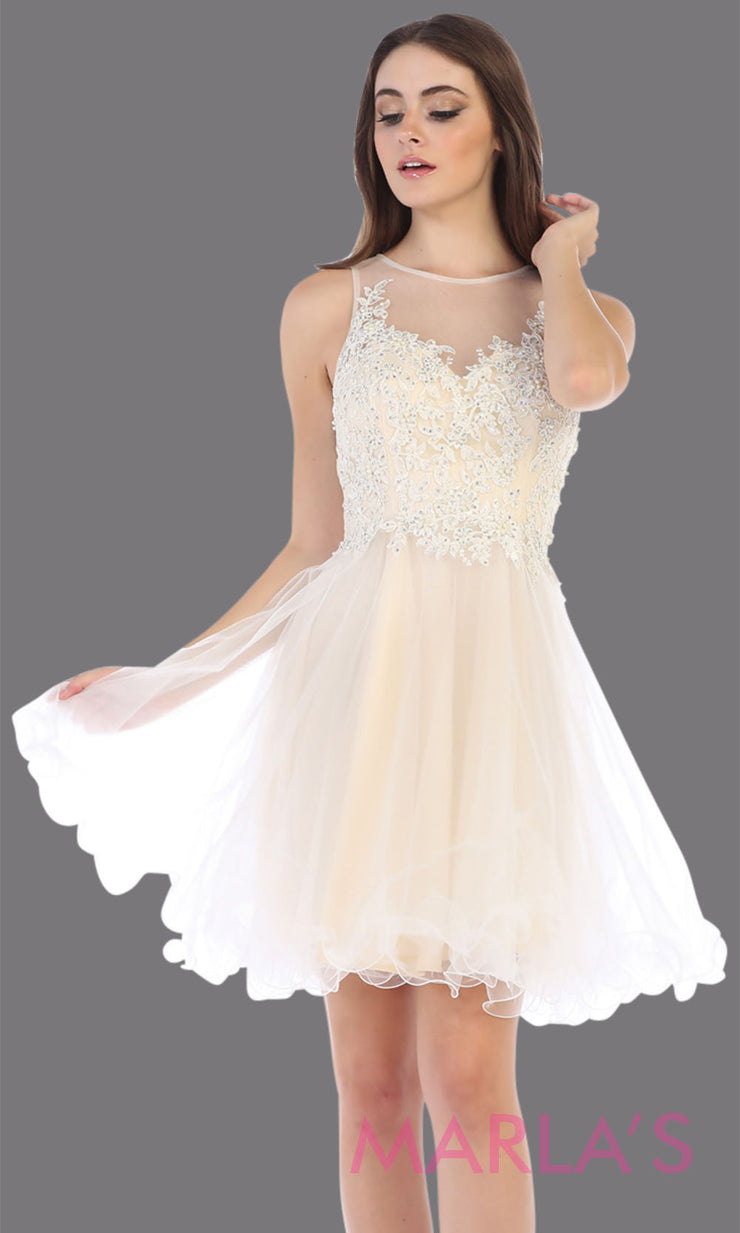 Short high neck champagne grade 8 graduation dress with puffy skirt. This ivory illusion back ballerina dress is perfect for  grade 8 grad, homecoming, Bat Mitzvah, quinceanera damas, homecoming, junior bridesmaids