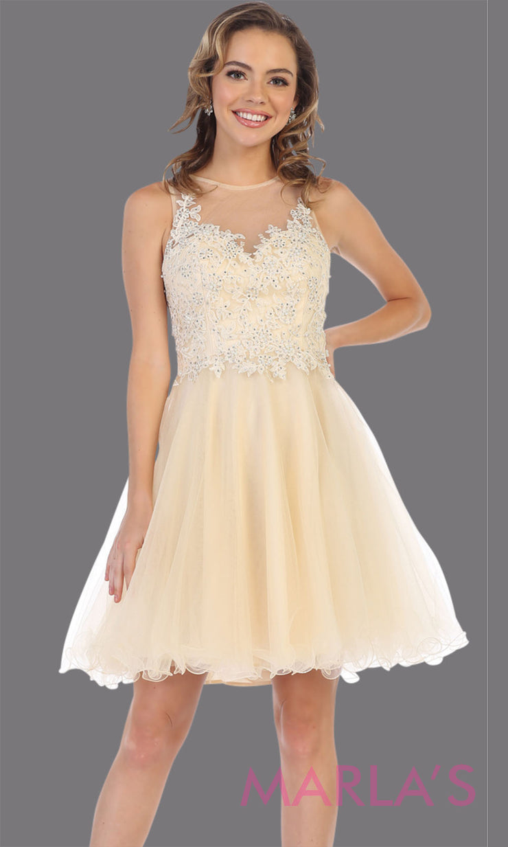 Short high neck champagne grade 8 graduation dress with puffy skirt. This light gold illusion back ballerina dress is perfect for grade 8 grad, homecoming,Bat Mitzvah, quinceanera damas, homecoming, junior bridesmaids