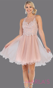 Short high neck mauve grade 8 graduation dress with puffy skirt. This dusty rose illusion back ballerina dress is perfect for pink grade 8 grad, homecoming, Bat Mitzvah, quinceanera damas, homecoming, junior bridesmaids