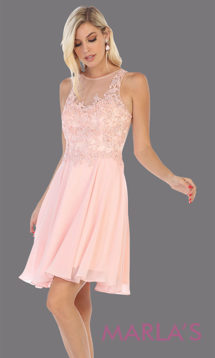 Short high neck pink grade 8 graduation dress with puffy skirt. This blush pink illusion back ballerina dress is perfect for pink grade 8 grad, homecoming, Bat Mitzvah, quinceanera damas, homecoming, junior bridesmaids