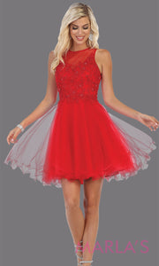 Short high neck red grade 8 graduation dress with puffy skirt. This red illusion back ballerina dress is perfect for grade 8 grad, homecoming, red Bat Mitzvah, red quinceanera damas, homecoming, red junior bridesmaids